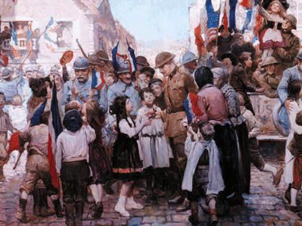 The Young And Old Of St. Mihiel Greet Their Liberators