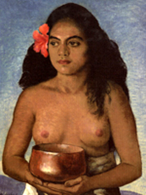 Young Hawaiian Girl With An Umeke Poi