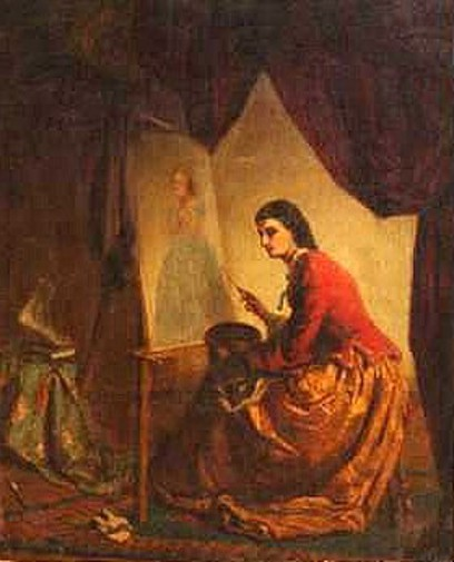 Female Artist Painting A Portrait