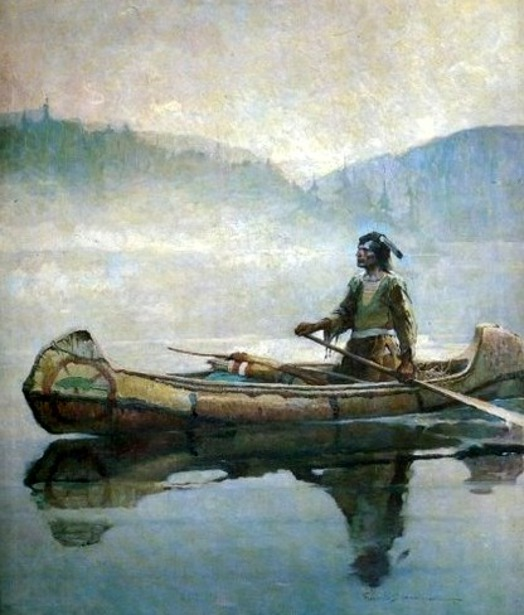 Indian In Canoe