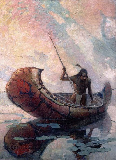 Ojibway Indian Spearing The Maskenozha
