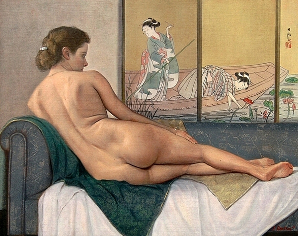 Reclining Nude With Water Lily Panels