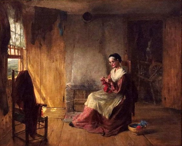 Woman Knitting By The Window