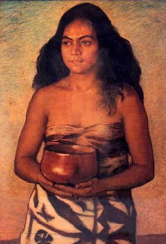 Young Hawaiian Girl With An Umeke Poi
