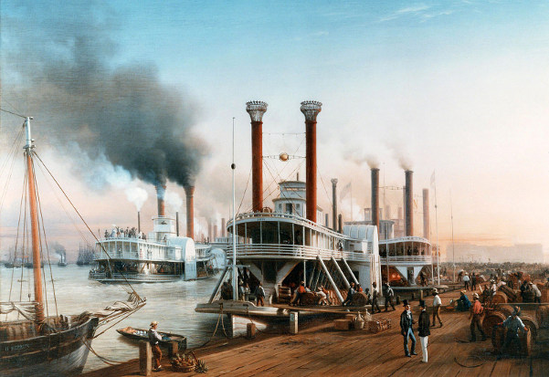 Giant Steamboats At The Levee In New Orleans
