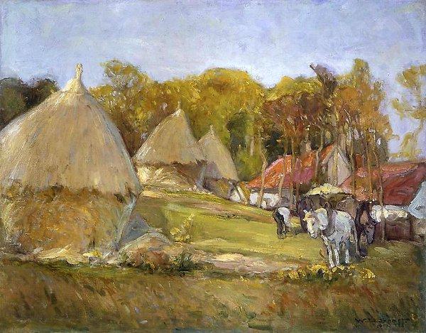 Landscape With Haystacks, France