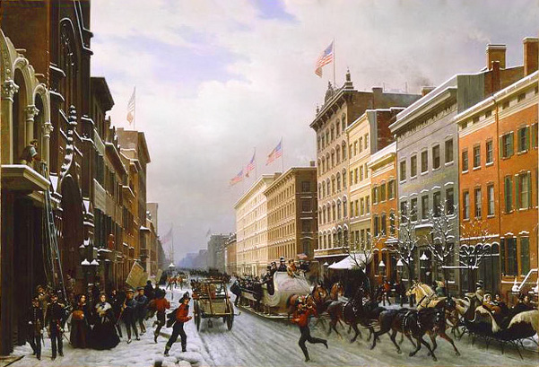 New York, Winter Scene In Broadway In 1840