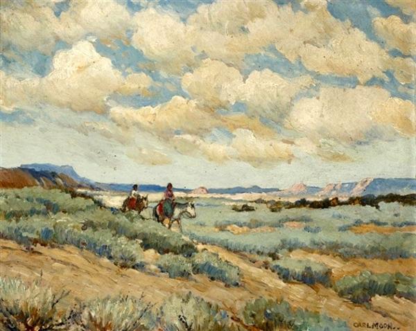 Sage Land - Two Indians Riding Horseback Through The Desert