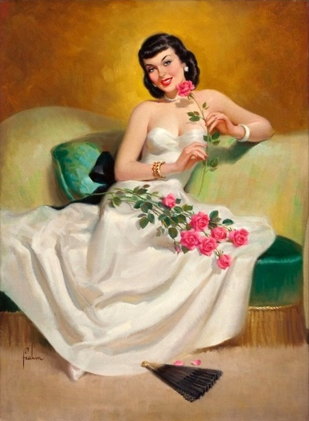 Brunette With Roses
