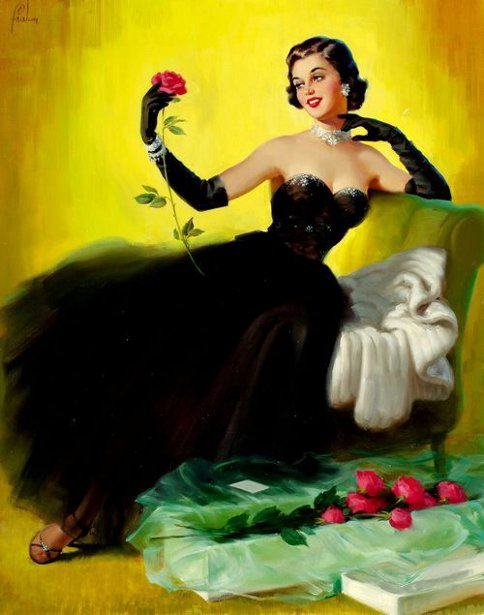 Glamorous Lady With Roses