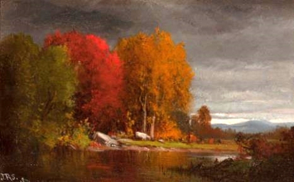 Hudson River Landscape In Autumn