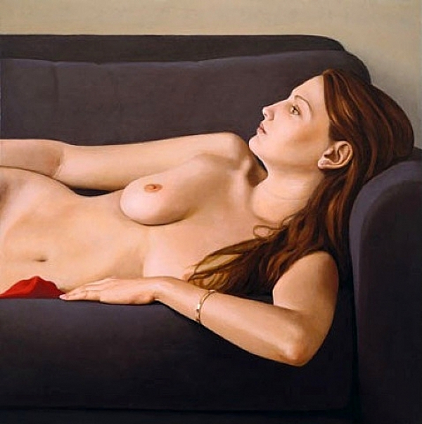 Nude On Grey Couch