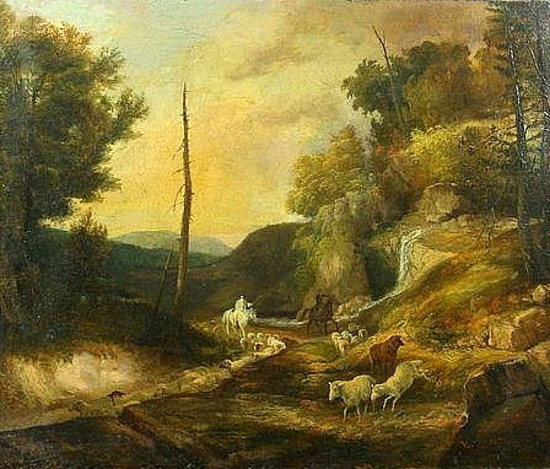 Shepherd On Horseback - Landscape With Riders And Sheep