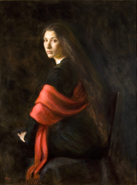 Woman With A Red Shawl