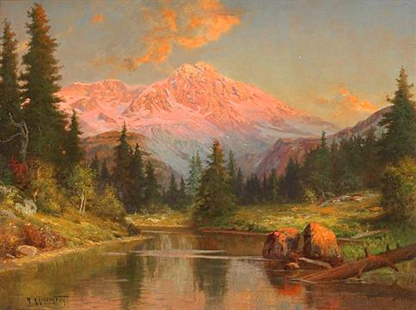 Alpine River Scene At Sunset