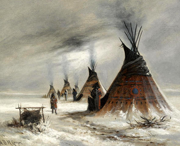 Sioux Indian Camp In Winter