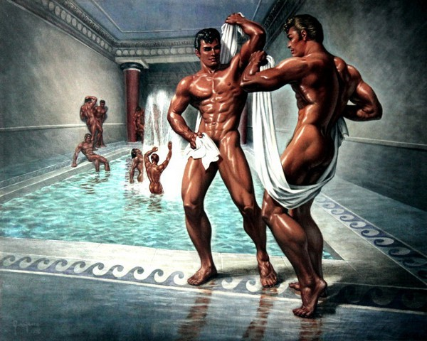 Spartan Soldiers Bathing