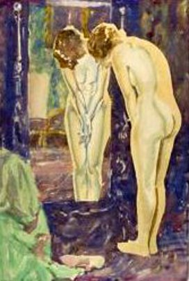 Standing Female Nude, Looking In A Mirror