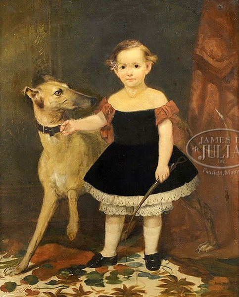 Boy In Black Dress With Greyhound Dog