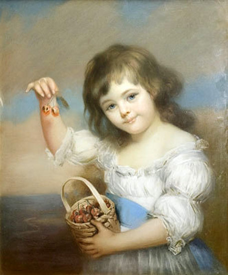 Child Holding Cherries