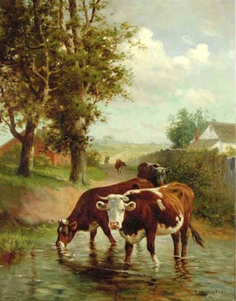 Cows In A Rural Landscape In A Riverbed