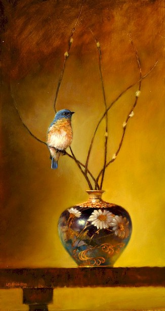 Eastern Bluebird Satsuma Vase