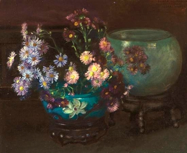 Flowers And Blue Vases