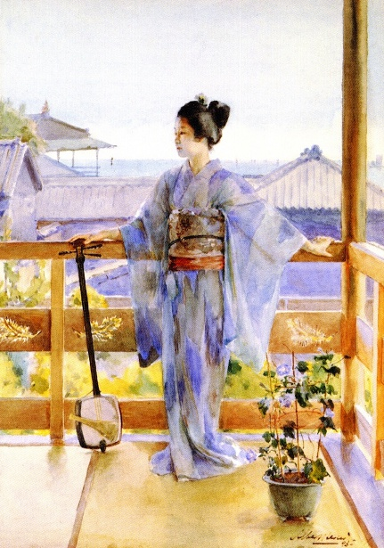 Geisha Standing On A Balcony