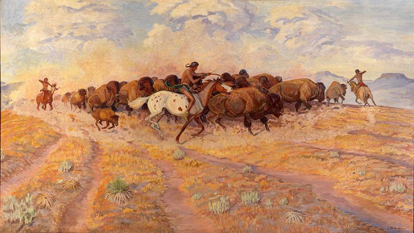 Indians Herding Buffalo