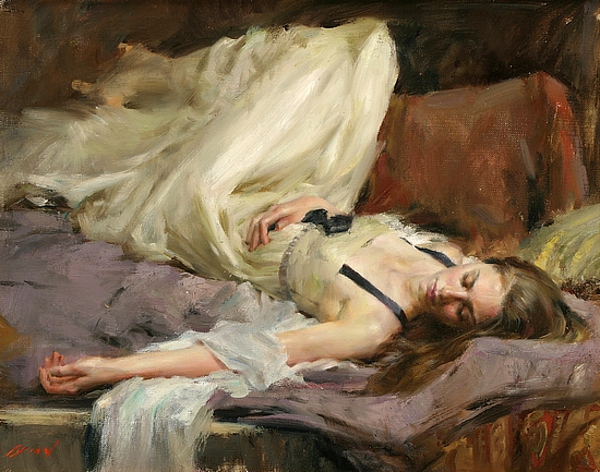 Lady In White Reclining