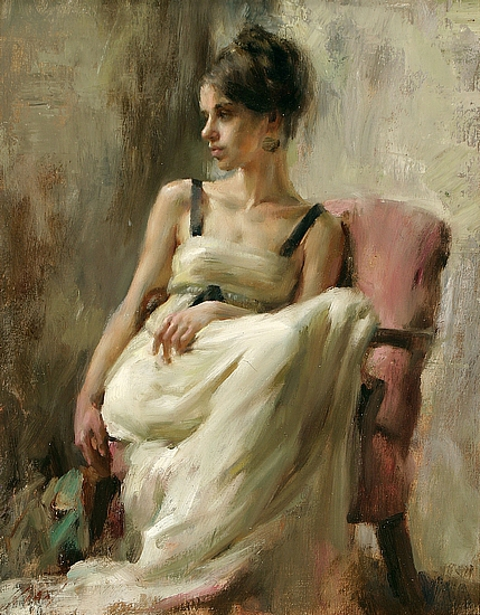 Lady In White Sitting