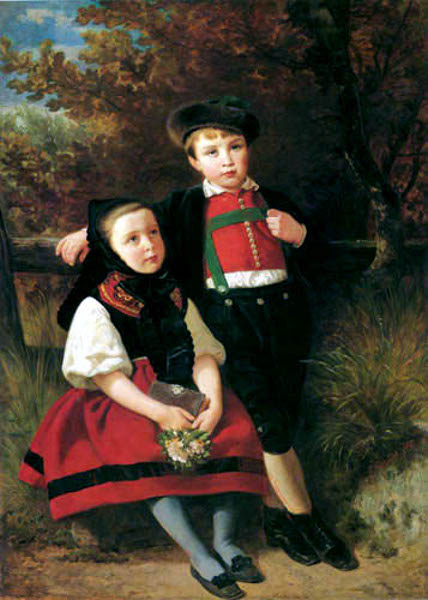 Leutze Children In Swabian Costume