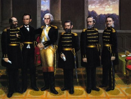 Lincoln With Washington And His Generals (J. Garfield,  A. Lincoln, G. Washington, U. Grant, R. Hayes, C. Arthur)