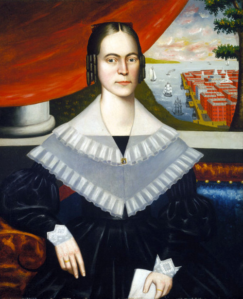 Portrait Of A Woman Said To Be Clarissa Gallond Cook, In Front Of A Cityscape