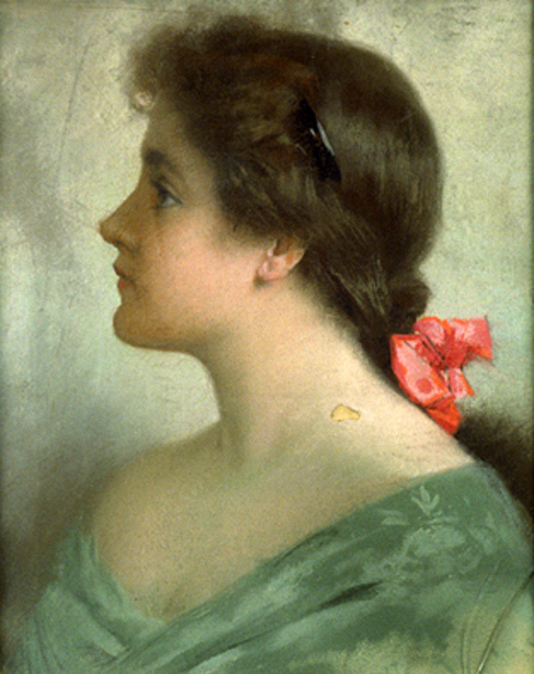Profile Of Girl With A Red Bow