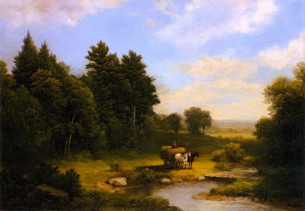 Rural Landscape With Hay Wagon