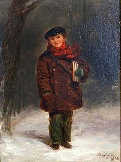 Schoolboy On Snowy Street