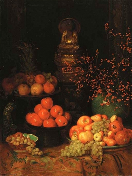Still Life With Fruit, Peacock And Buddha