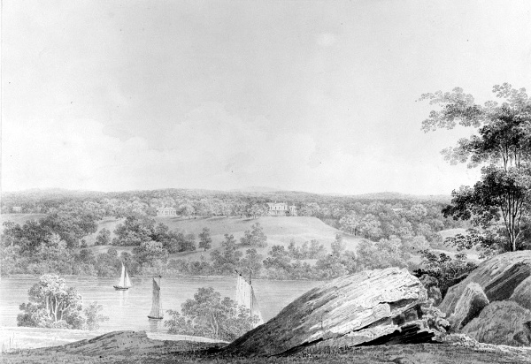 View Of The David Hosack Estate, Hyde Park, New York, From Western Bank Of The Hudson River