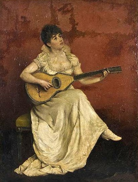Young Lady Playing The Guitar