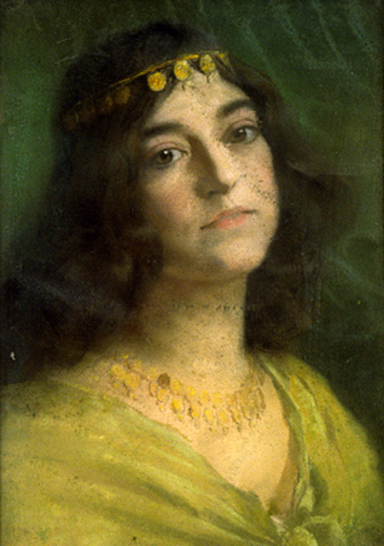 Young Woman With Gold Head Band And Necklace