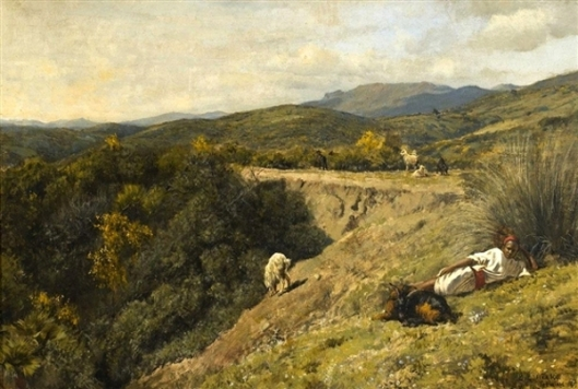 A Young Moroccan Shepherd On A Hillside, Tetuan