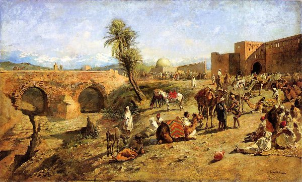 Arrival Of A Caravan Outside The City Of Morocco