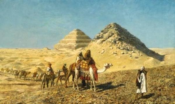 Camel Caravan Amid The Pyramids, Egypt
