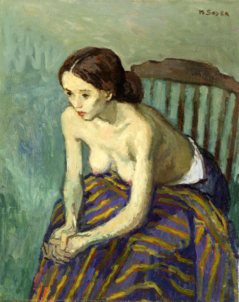 Girl On Chair With Striped Blanket