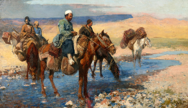 Horses At The Ford, Persia