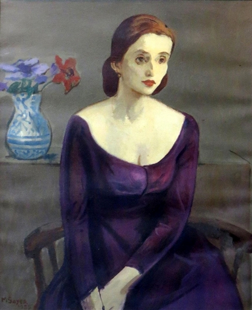 Jean Moldover With A Vase Of Flowers