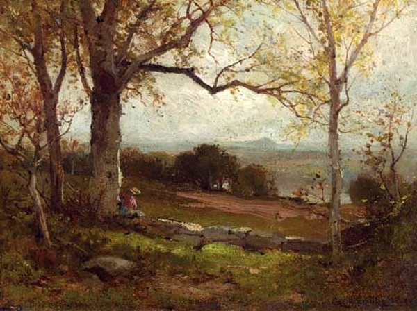 New Jersey Landscape With A Figure Resting By A Tree