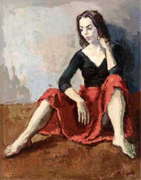 Seated Girl In Red Skirt