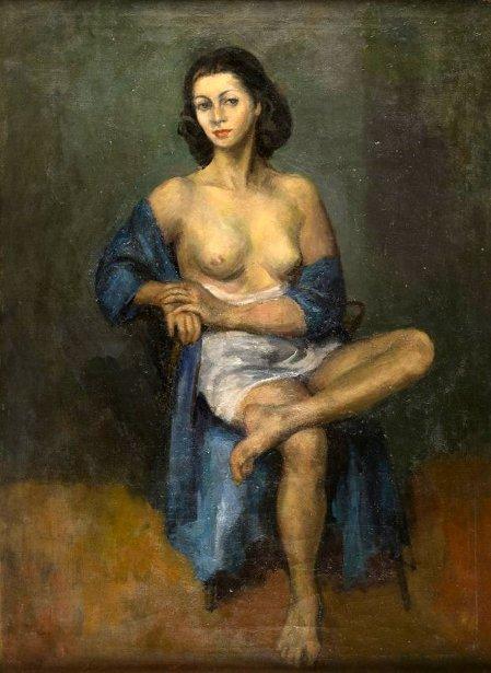 Sitting Semi-Nude